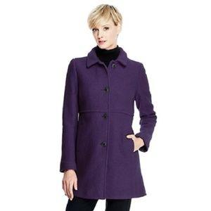 Lands End Boiled Wool Blend Coat 10 Purple